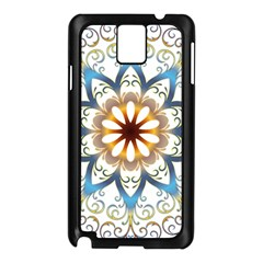Prismatic Flower Floral Star Gold Green Purple Orange Samsung Galaxy Note 3 N9005 Case (black)