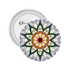 Prismatic Flower Floral Star Gold Green Purple 2 25  Buttons by Alisyart
