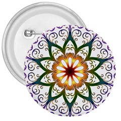 Prismatic Flower Floral Star Gold Green Purple 3  Buttons by Alisyart