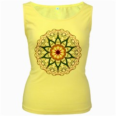 Prismatic Flower Floral Star Gold Green Purple Women s Yellow Tank Top by Alisyart