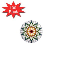 Prismatic Flower Floral Star Gold Green Purple 1  Mini Magnets (100 Pack)