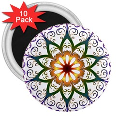 Prismatic Flower Floral Star Gold Green Purple 3  Magnets (10 Pack)  by Alisyart