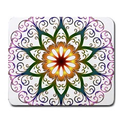 Prismatic Flower Floral Star Gold Green Purple Large Mousepads by Alisyart