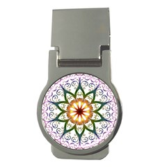 Prismatic Flower Floral Star Gold Green Purple Money Clips (round)