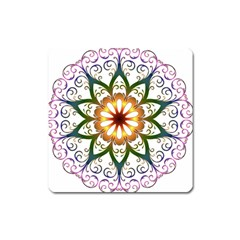 Prismatic Flower Floral Star Gold Green Purple Square Magnet by Alisyart