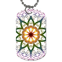 Prismatic Flower Floral Star Gold Green Purple Dog Tag (one Side) by Alisyart
