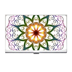 Prismatic Flower Floral Star Gold Green Purple Business Card Holders by Alisyart