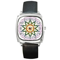 Prismatic Flower Floral Star Gold Green Purple Square Metal Watch by Alisyart
