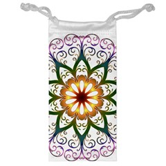 Prismatic Flower Floral Star Gold Green Purple Jewelry Bag by Alisyart