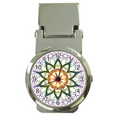 Prismatic Flower Floral Star Gold Green Purple Money Clip Watches by Alisyart