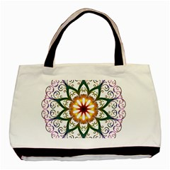 Prismatic Flower Floral Star Gold Green Purple Basic Tote Bag by Alisyart