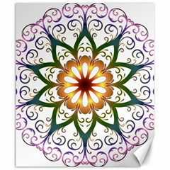 Prismatic Flower Floral Star Gold Green Purple Canvas 20  X 24   by Alisyart
