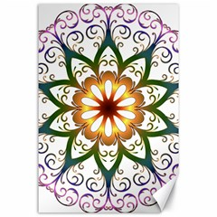 Prismatic Flower Floral Star Gold Green Purple Canvas 24  X 36  by Alisyart