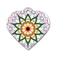 Prismatic Flower Floral Star Gold Green Purple Dog Tag Heart (one Side) by Alisyart