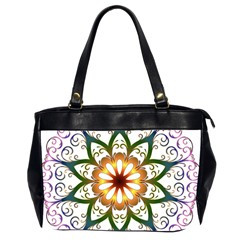 Prismatic Flower Floral Star Gold Green Purple Office Handbags (2 Sides)  by Alisyart
