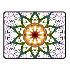 Prismatic Flower Floral Star Gold Green Purple Fleece Blanket (small) by Alisyart