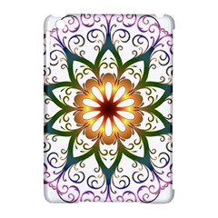 Prismatic Flower Floral Star Gold Green Purple Apple Ipad Mini Hardshell Case (compatible With Smart Cover) by Alisyart