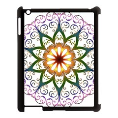 Prismatic Flower Floral Star Gold Green Purple Apple Ipad 3/4 Case (black) by Alisyart