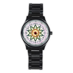 Prismatic Flower Floral Star Gold Green Purple Stainless Steel Round Watch by Alisyart