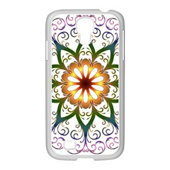 Prismatic Flower Floral Star Gold Green Purple Samsung Galaxy S4 I9500/ I9505 Case (white) by Alisyart