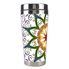 Prismatic Flower Floral Star Gold Green Purple Stainless Steel Travel Tumblers by Alisyart