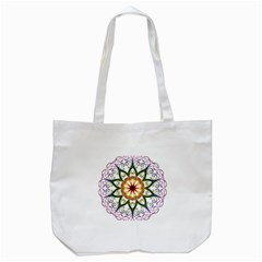 Prismatic Flower Floral Star Gold Green Purple Tote Bag (white) by Alisyart