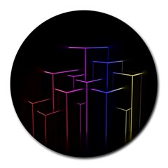 Space Light Lines Shapes Neon Green Purple Pink Round Mousepads by Alisyart