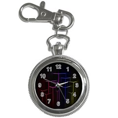 Space Light Lines Shapes Neon Green Purple Pink Key Chain Watches by Alisyart