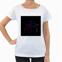 Space Light Lines Shapes Neon Green Purple Pink Women s Loose Fit T Shirt (white) by Alisyart