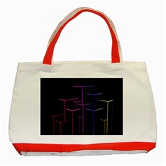 Space Light Lines Shapes Neon Green Purple Pink Classic Tote Bag (red) by Alisyart