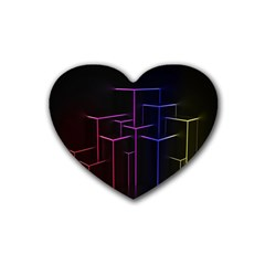 Space Light Lines Shapes Neon Green Purple Pink Rubber Coaster (heart)  by Alisyart