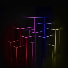 Space Light Lines Shapes Neon Green Purple Pink Magic Photo Cubes by Alisyart