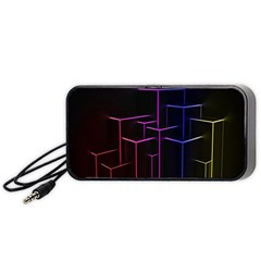 Space Light Lines Shapes Neon Green Purple Pink Portable Speaker (black) by Alisyart
