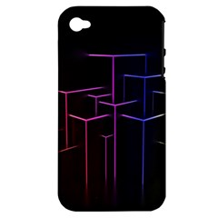 Space Light Lines Shapes Neon Green Purple Pink Apple Iphone 4/4s Hardshell Case (pc+silicone) by Alisyart