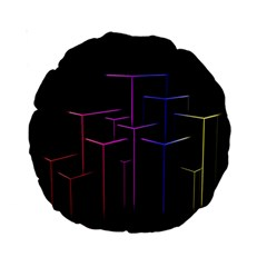 Space Light Lines Shapes Neon Green Purple Pink Standard 15  Premium Round Cushions by Alisyart