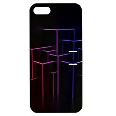 Space Light Lines Shapes Neon Green Purple Pink Apple Iphone 5 Hardshell Case With Stand by Alisyart