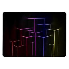 Space Light Lines Shapes Neon Green Purple Pink Samsung Galaxy Tab 10 1  P7500 Flip Case by Alisyart