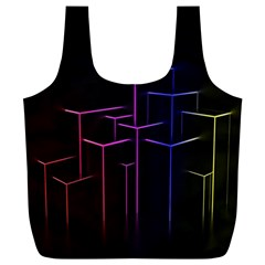 Space Light Lines Shapes Neon Green Purple Pink Full Print Recycle Bags (l)  by Alisyart