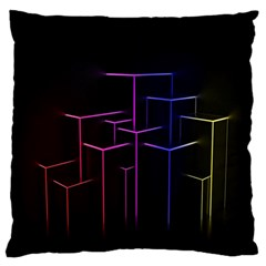 Space Light Lines Shapes Neon Green Purple Pink Standard Flano Cushion Case (two Sides) by Alisyart
