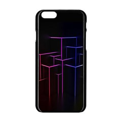 Space Light Lines Shapes Neon Green Purple Pink Apple Iphone 6/6s Black Enamel Case by Alisyart