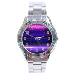 Space Planet Pink Blue Purple Stainless Steel Analogue Watch by Alisyart