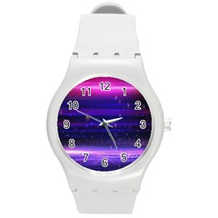 Space Planet Pink Blue Purple Round Plastic Sport Watch (m) by Alisyart