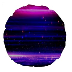 Space Planet Pink Blue Purple Large 18  Premium Round Cushions by Alisyart