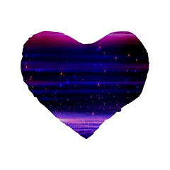 Space Planet Pink Blue Purple Standard 16  Premium Flano Heart Shape Cushions by Alisyart