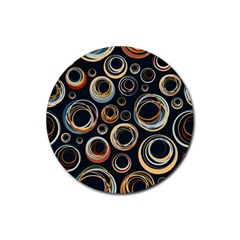 Seamless Cubes Texture Circle Black Orange Red Color Rainbow Rubber Coaster (round)  by Alisyart