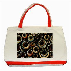 Seamless Cubes Texture Circle Black Orange Red Color Rainbow Classic Tote Bag (red) by Alisyart