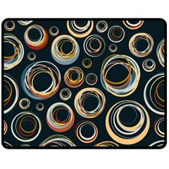 Seamless Cubes Texture Circle Black Orange Red Color Rainbow Double Sided Fleece Blanket (medium)  by Alisyart