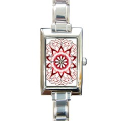 Prismatic Flower Floral Star Gold Red Orange Rectangle Italian Charm Watch by Alisyart