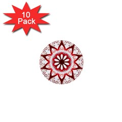 Prismatic Flower Floral Star Gold Red Orange 1  Mini Buttons (10 Pack)  by Alisyart