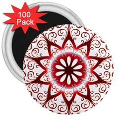 Prismatic Flower Floral Star Gold Red Orange 3  Magnets (100 Pack) by Alisyart